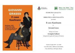 """Fiumicino, """"Il caso Kaufmann"""" il romanzo di Giovanni Grasso"""