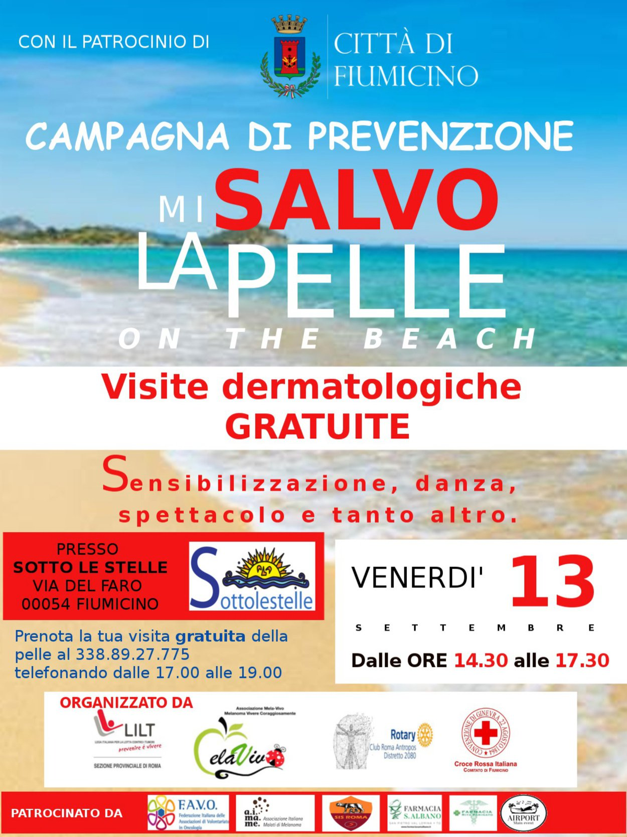 "Fiumicino, ""Mi salvo la pelle on the beach"""