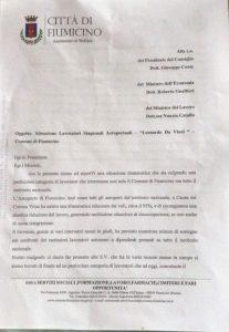 Fiumicino, Lavoratrici e dei lavoratori stagionali dell'Aeroporto Da Vinci: la lettera a Conte